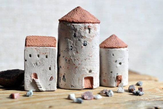 Architectural Sculpture Italy Medieval Towers Little Clay Houses on Etsy, $82.99