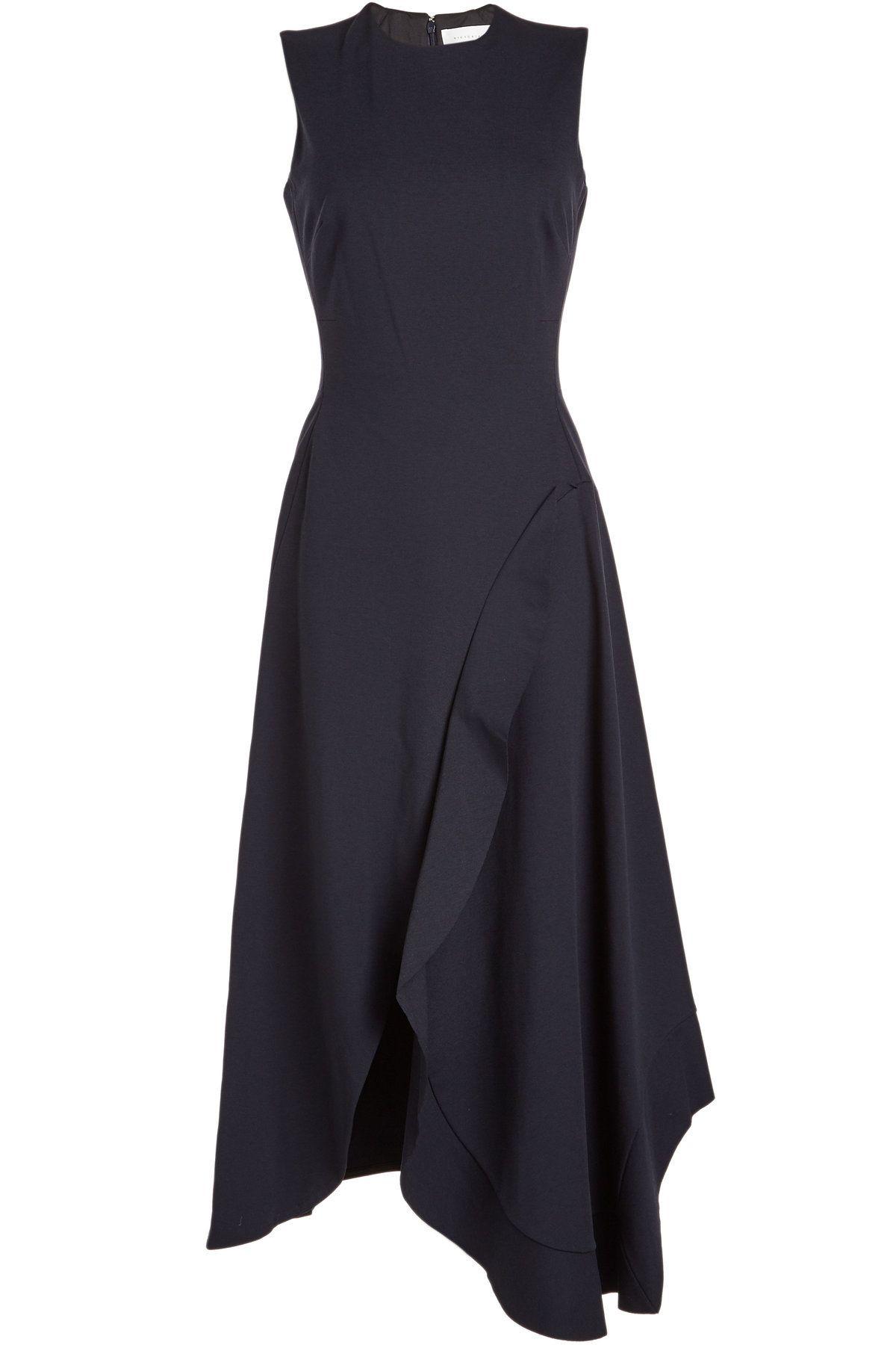 Sleeveless Asymmetric Ruffle Dress In Blue 1505 [ 1800 x 1200 Pixel ]