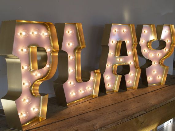 Vintage inspired carnival letter lights play with gold for Hollywood light up letters