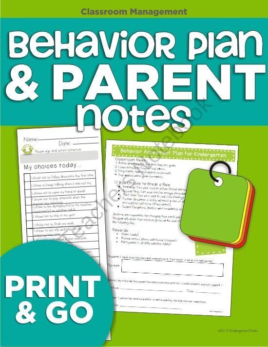 Behavior Plan And Parent Notes From Kindergartenworks On