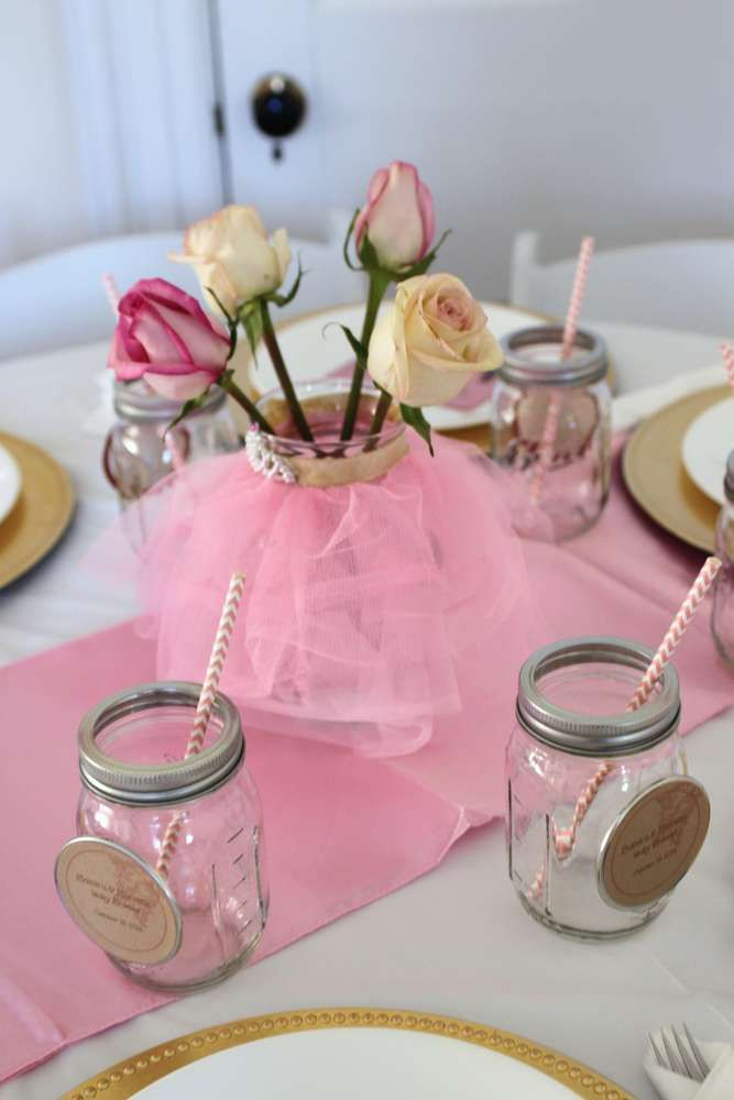 Vintage ballerina baby shower party ideas