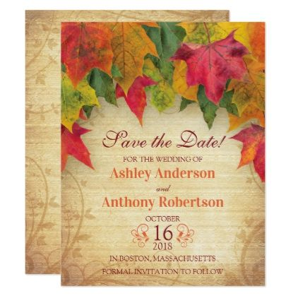 maple leaves wedding save the date fall autumn card wedding