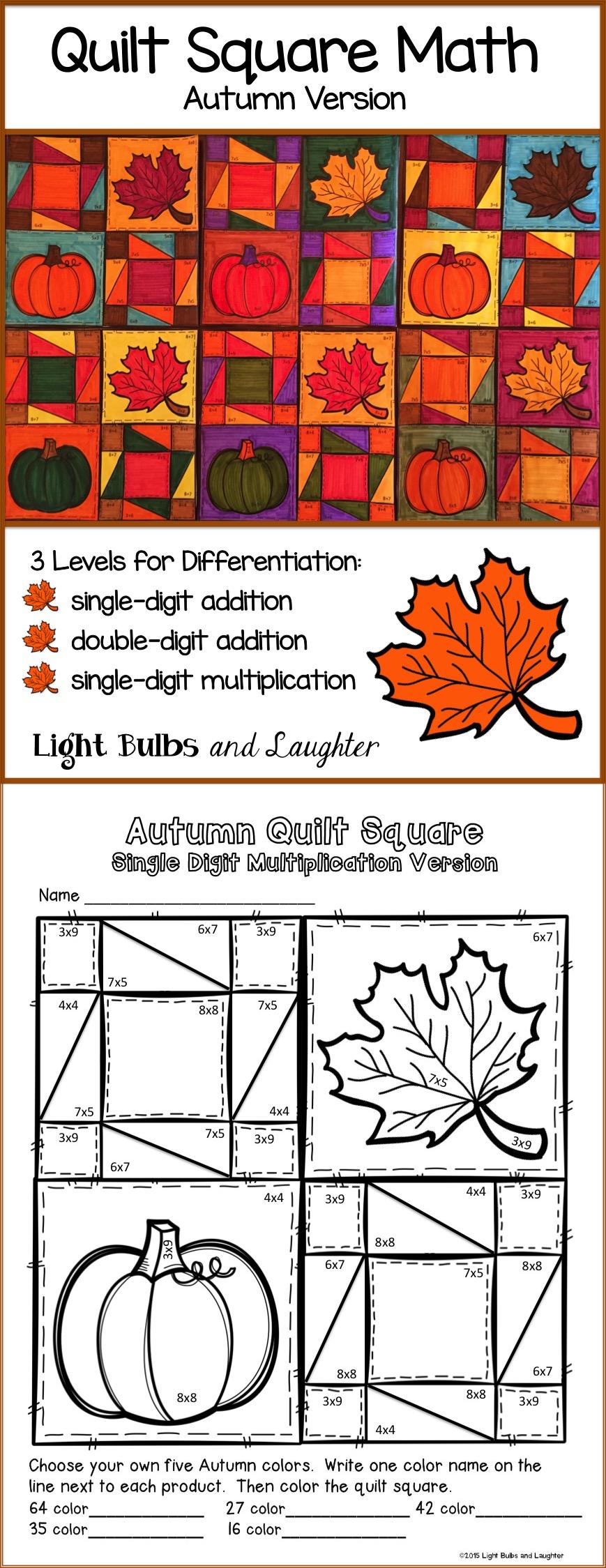 Fall Autumn Math Art Quilt Square Math art, Classroom