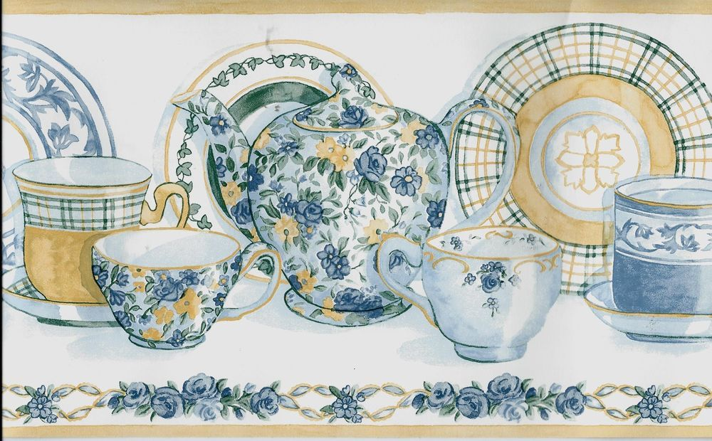 ENGLISH COTTAGE BLUE AND YELLOW DISHES ON WHITE WALLPAPER
