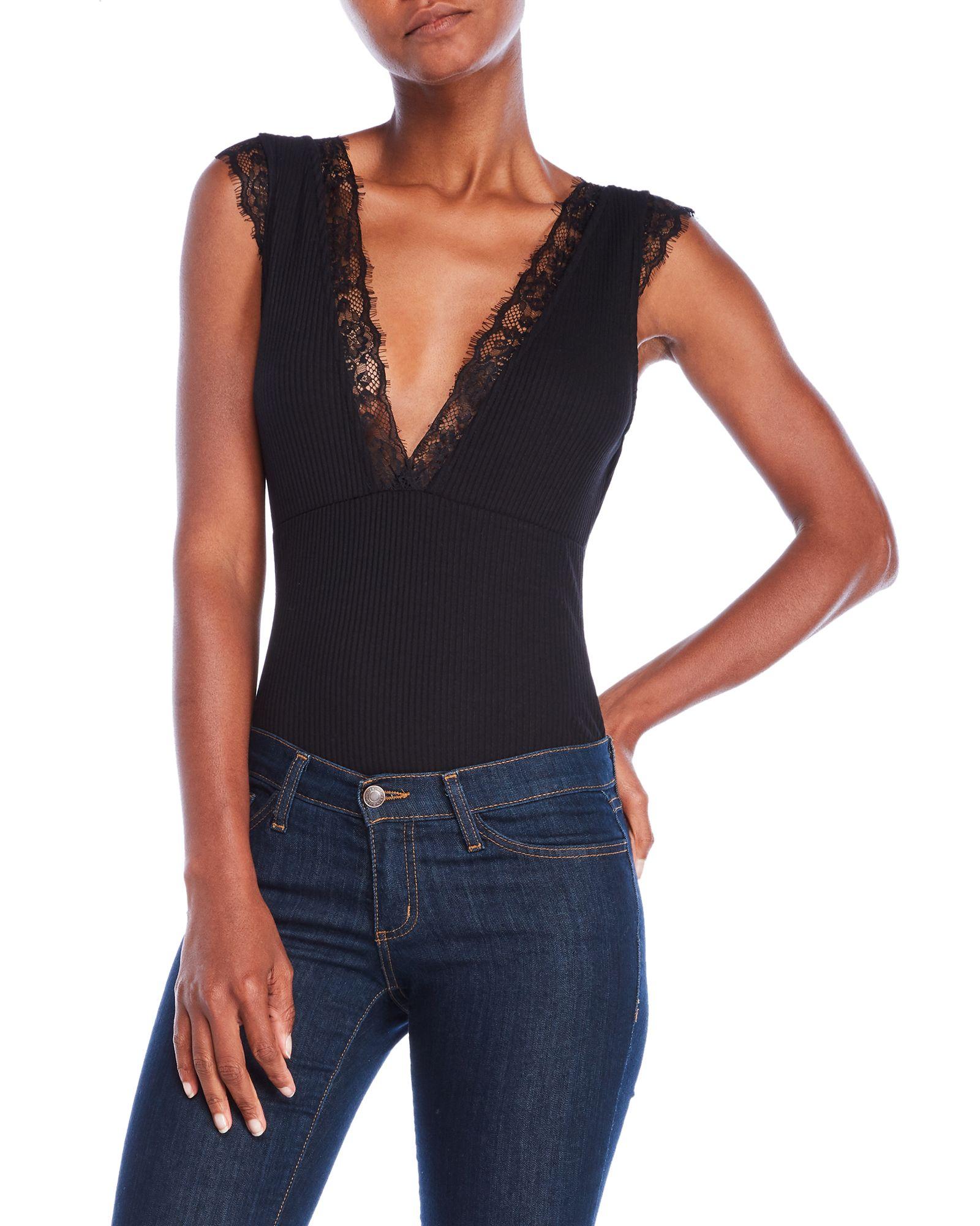 Lace bodysuit with jeans  Honey Punch Lace Deep VNeck Bodysuit  Apparel u Accessories