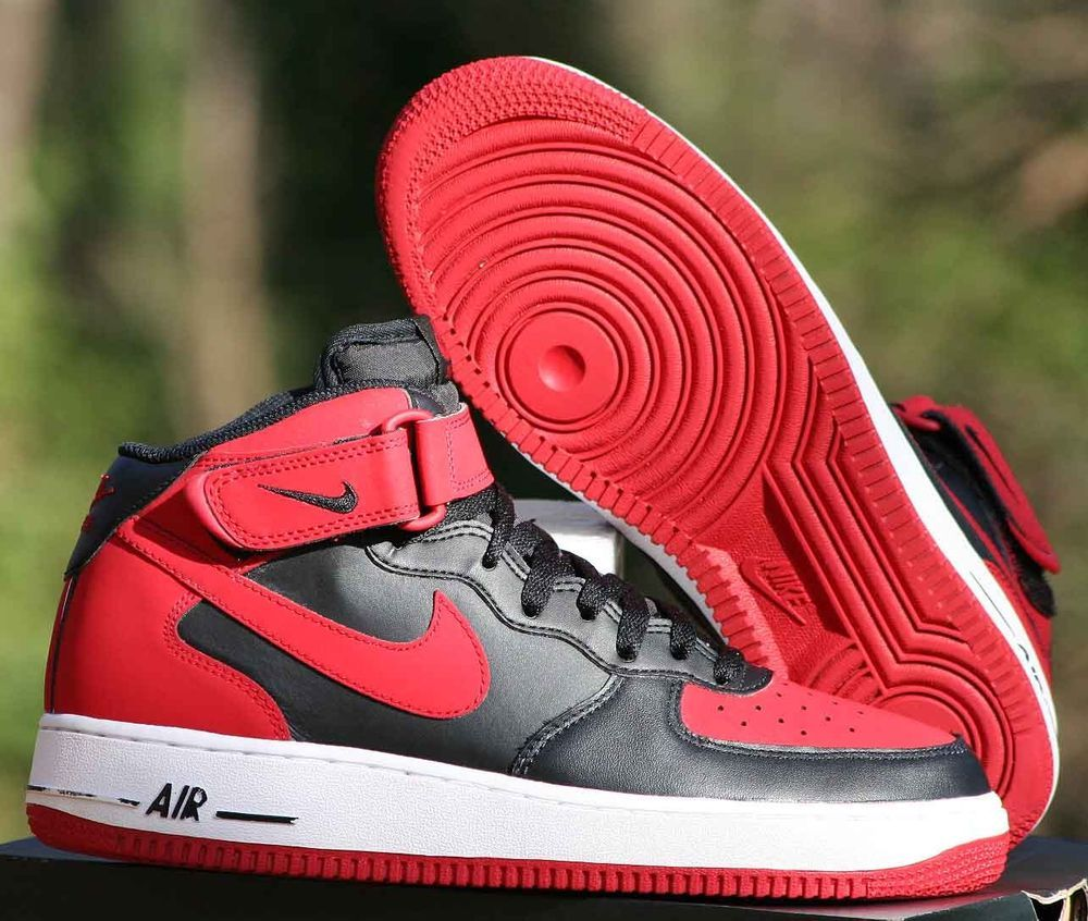 eb27042d177d Nike Air Force 1 AF1 Mid Bred Size 8 Black Gym Red White 315123 029  Nike   BasketballShoes