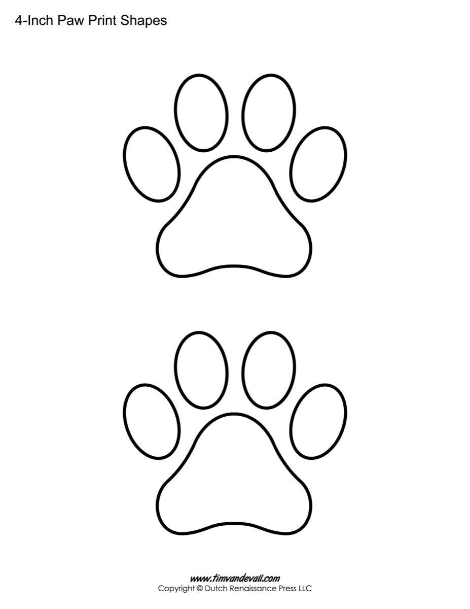 Paw print printable sheet  Bear paw print, Paw print crafts, Dog