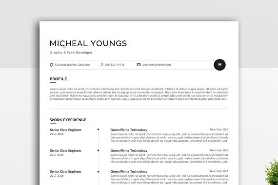 Minimal and Professional resume/CV template for word Two pages