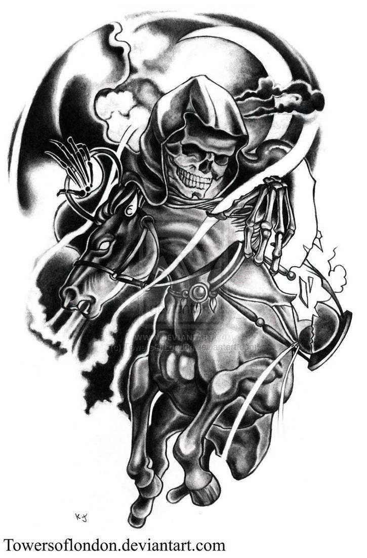 Shadows Horseman Tattoo W I P 1 By Towersoflondon On Deviantart Death Tattoo Angel Of Death Tattoo Shadow Tattoo