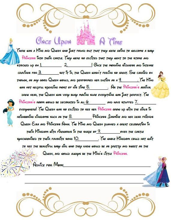 Disney baby shower mad libs a baby shower game for a little disney baby shower mad libs a baby shower game for a little princess instand download pronofoot35fo Image collections