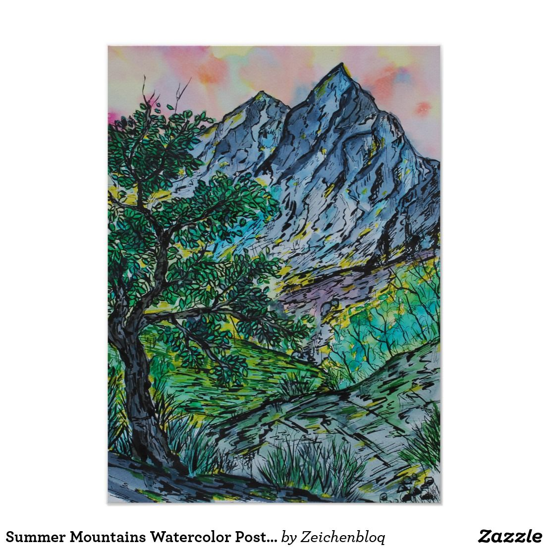 Summer Mountains Watercolor Poster Zazzle Com Watercolor Ink