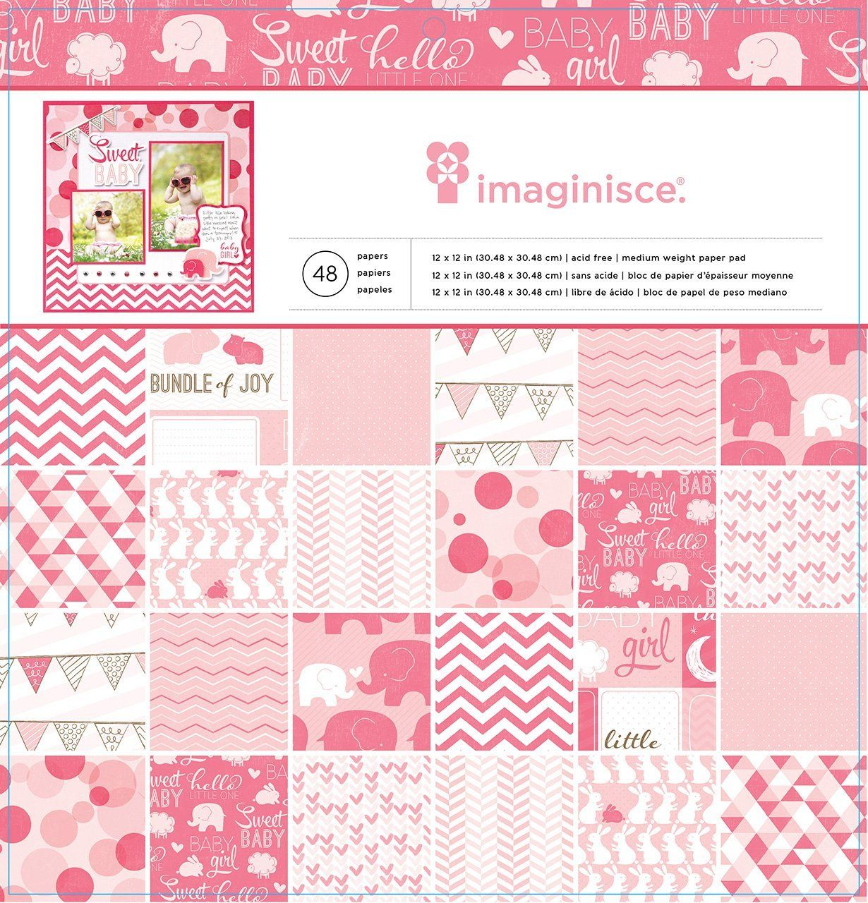 Scrapbook paper baby - Imaginisce My Baby Collection Baby Girl 12 X 12 Paper Pad You Can Never Get Enough Pink When Crafting And Scrapbooking For Your Baby Girl