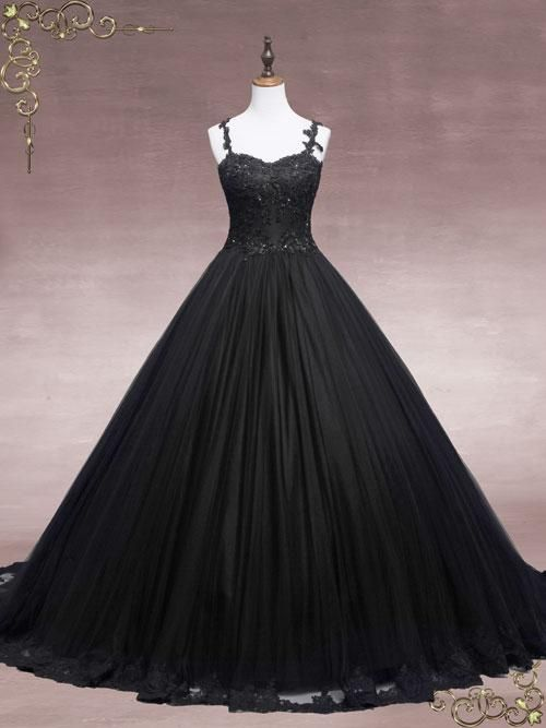 Black Lace Ball Gown Wedding Dress | Faith | Ball gowns, Lace ball ...