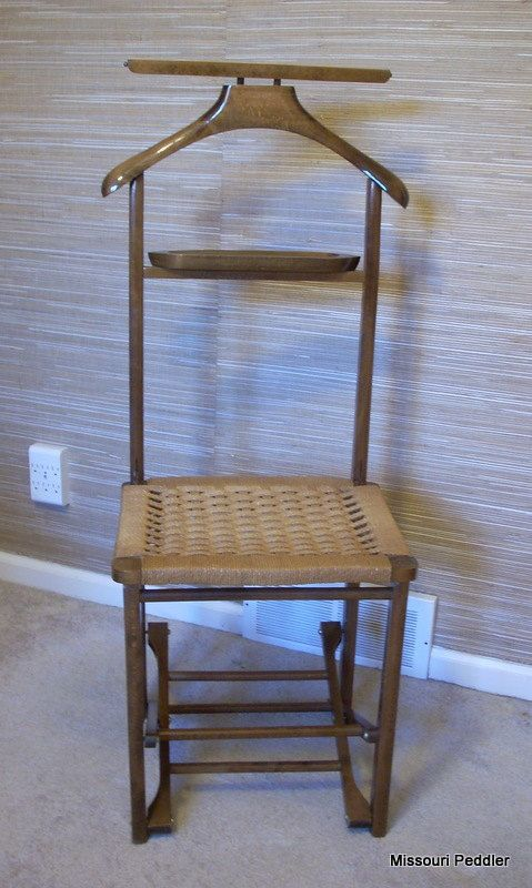 Vintage Menu0027s Valet Butler Chair   Folding Wood Chair Wicker Rattan Woven  Seat   Free Shipping