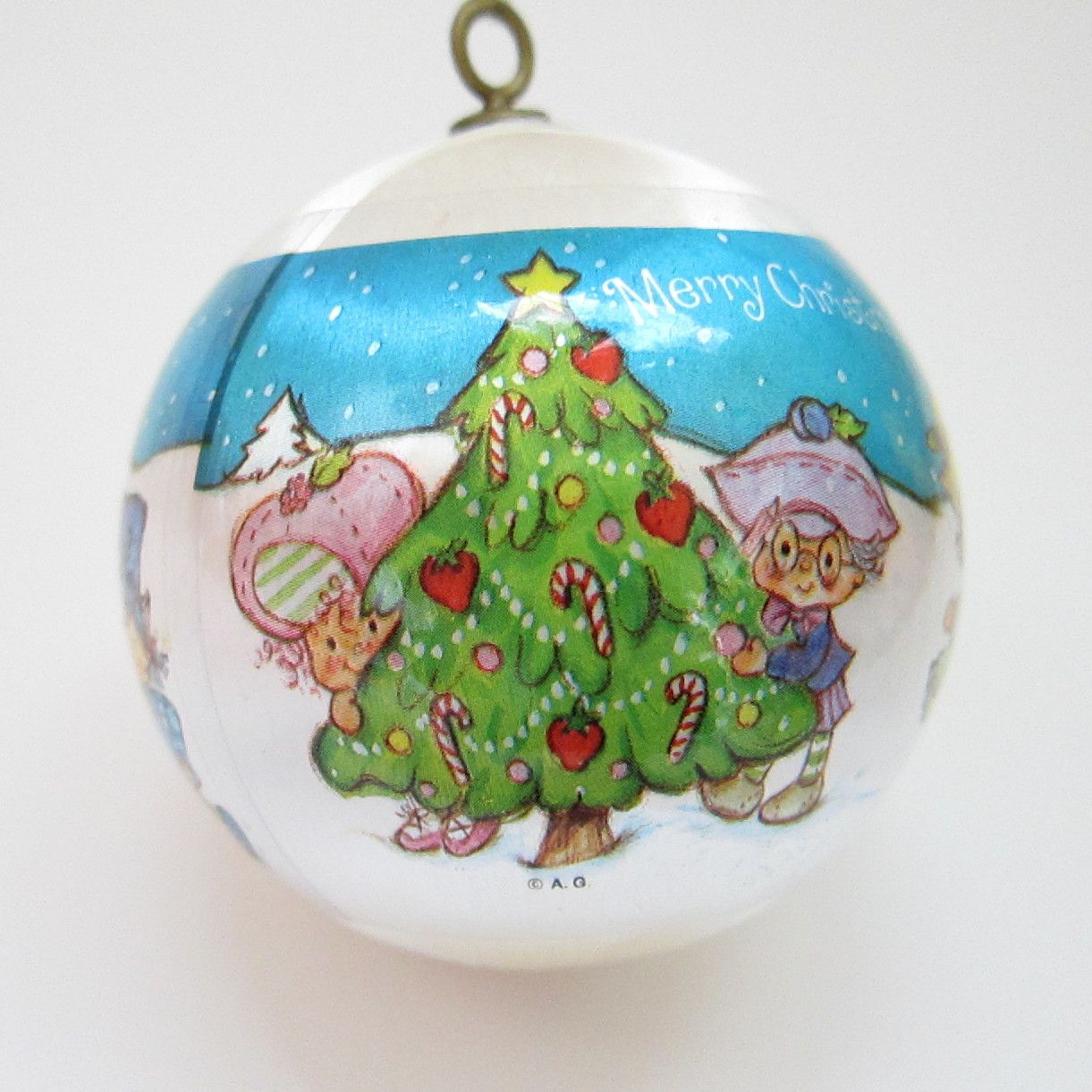 Strawberry christmas ornaments - This Vintage Strawberry Shortcake Christmas Tree Ornament Is A White Silk Ball With A Plastic Sleeve