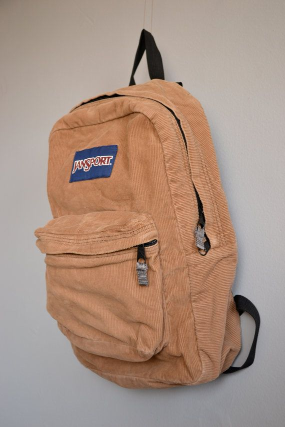 Vintage Tan Corduroy Jansport Backpack by TheOldWell on Etsy 6adda404a7c43