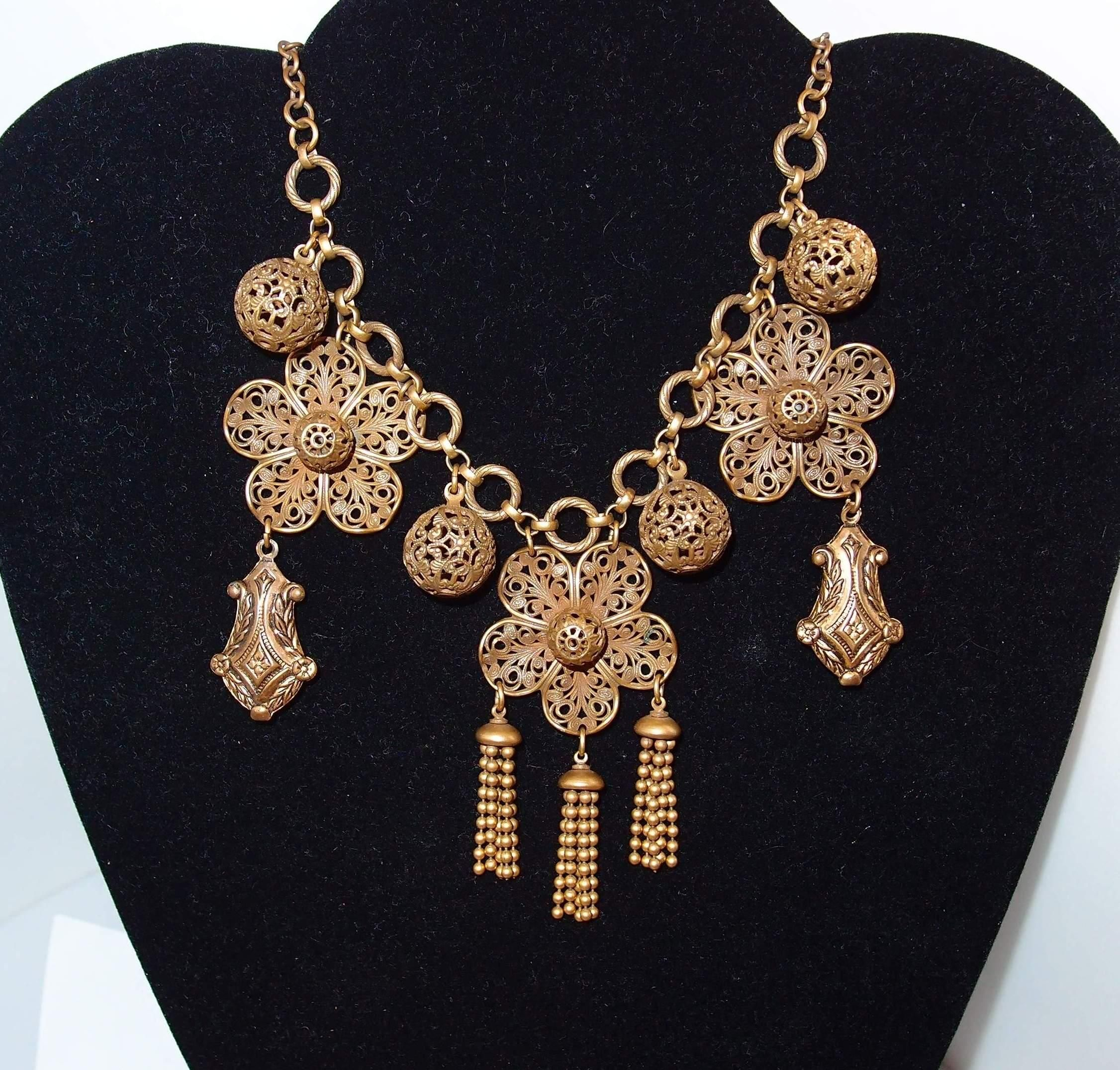 Vintage Puffy Brass Charm Necklace with Tassels
