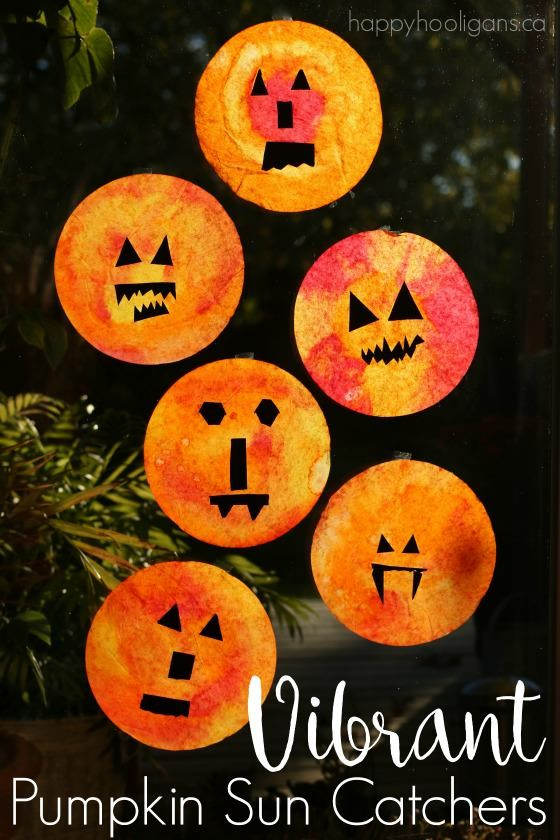 Easy Pumpkin Sun Catchers Made With Coffee Filters And Liquid