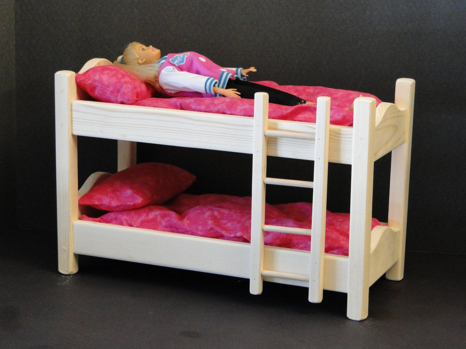 12 Inch Doll Bunk Bed With Mattress By Toysbyjohn On Etsy Doll Bunk Beds 18 Inch Doll Bedding Diy Barbie Furniture