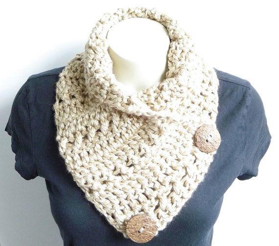 Crochet Scarf Pattern Crochet Cowl Pattern Neckwarmer Pattern Button ...
