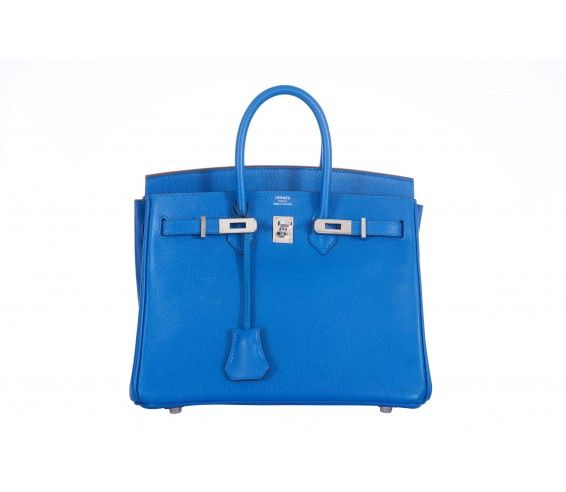 Hermes 25cm Birkin Mykonos Palladium Hardware Epsom Leather
