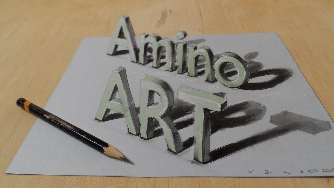Draw a 3d art amino magic letters optical illusion