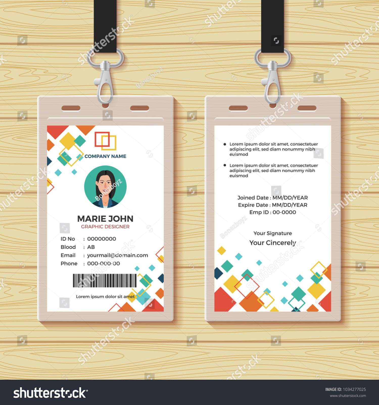 Creative Id Card Template Perfect For Any Types Of Agency Corporate Offices And Companies You Can Also Used This Identity Ca Kartu Nama Kartu Desain Grafis