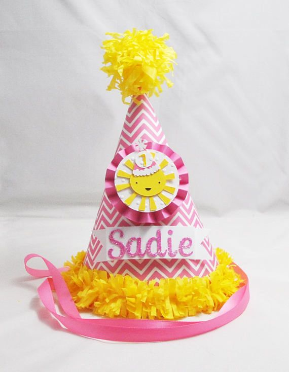Chevron Sunshine 1st Birthday Party Hat Personalized Girl