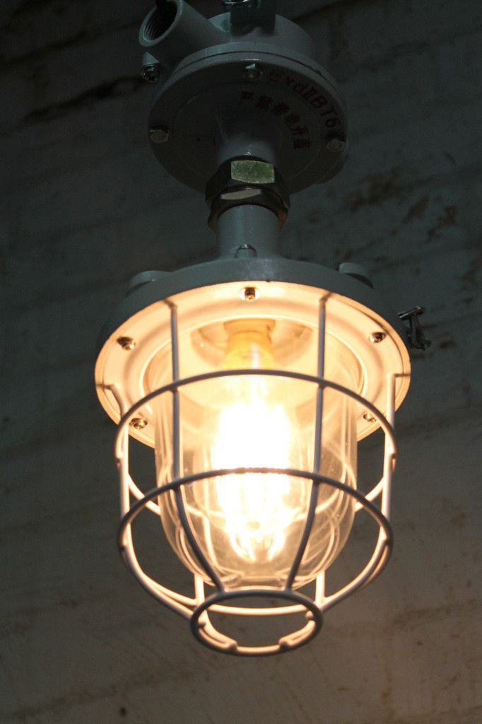 Ceiling Mount Outdoor Light Part - 30: Cage Light Industrial Pendant - Ceiling Flush Mount