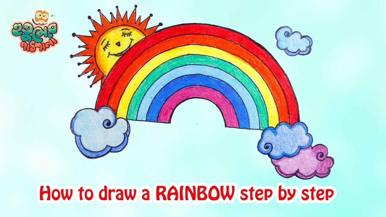 How To Draw Rainbow Step By Step Drawing And Coloring Tutorial