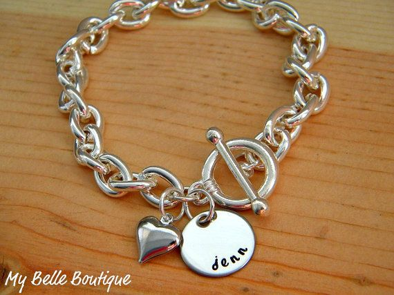 Personalized HandStamped Bracelet with Heart by MyBelleBoutique09, $20.00