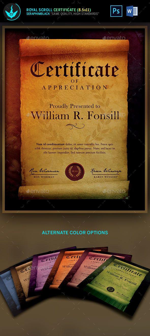 Royal Scroll Certificate Template Pinterest Certificate