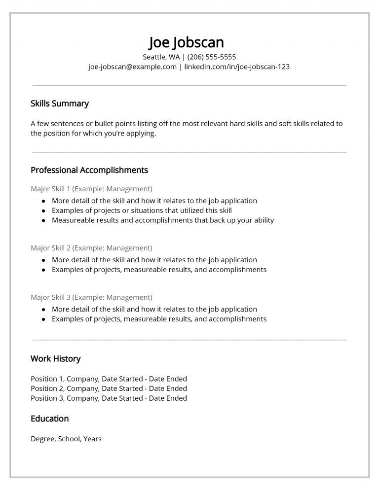 Functional Resume Template Example Functional resume