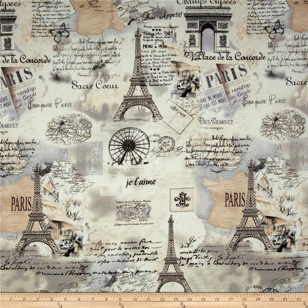 Timeless Treasures Letters From Paris Paris Map Cream