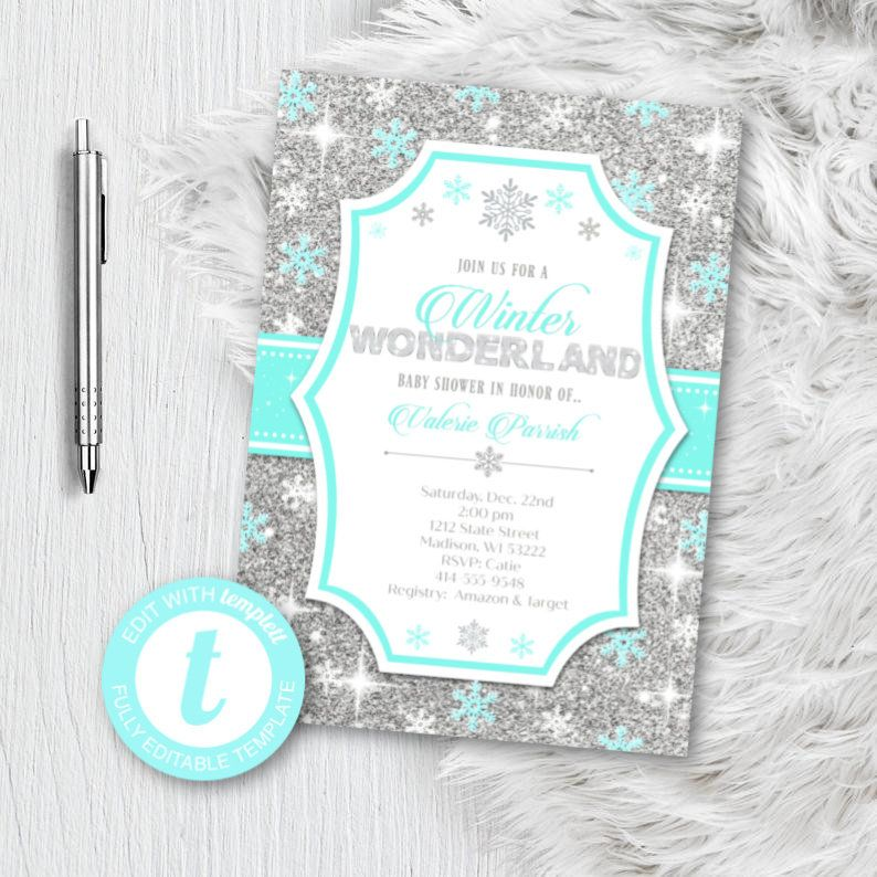 Winter Wonderland Baby Shower Invitation Boy Teal Blue and Silver Snowflake invite Template Editable Instant Download Printable glitter BS2