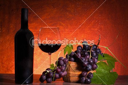 Still Life With Bottle Of Wine And Grapes