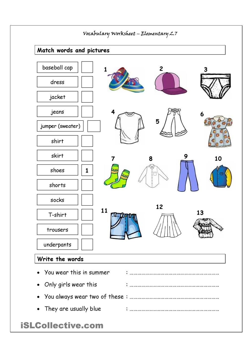 Vocabulary Matching Worksheet Elementary 27 Clothes Esl