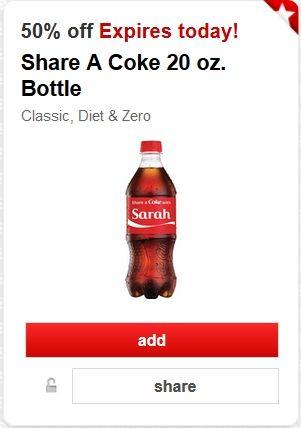 50 Off Coke Coupon From Target Carwheel For First 25 000 Bottle Coke Diet Coke