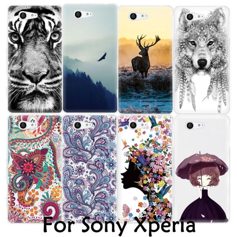 Leuke dier tijger totem schilderen zachte tpu cover telefoon case voor sony xperia m4 aqua m5 z z2 z4 z5 z1 z3 mini compact x xa xp xz