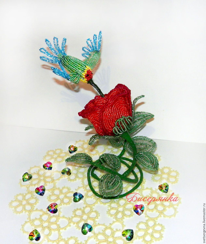 Роза красная с птичкой, колибри символ оптимизма и любви к ...