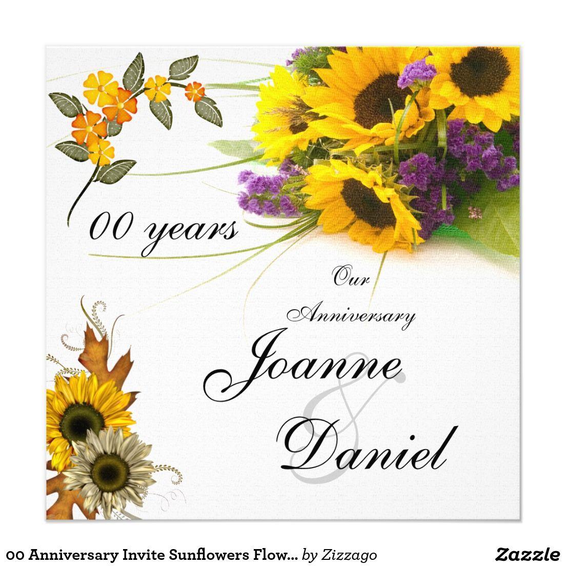 00 Anniversary Invite Sunflowers Flowers in