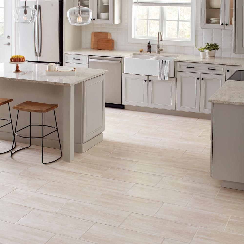 Daltile Glendale Ivory Matte 12 In X 24 In Glazed Porcelain Floor And Wall Tile 15 6 Sq Ft Case Gd011224hd1p6 The Home Depot In 2021 Modern Kitchen Flooring Porcelain Flooring Daltile