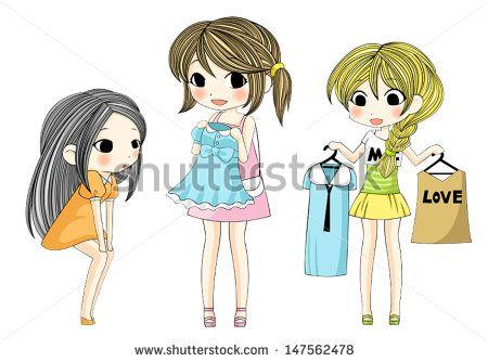 4298d651aa2f Cute stylish cartoon girls showing her new fashion dress via ...