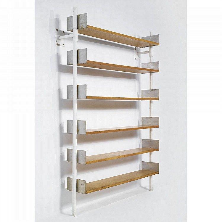 frederick kiesler enameled metal and plywood wall mounted on wall mount bookshelf id=36124