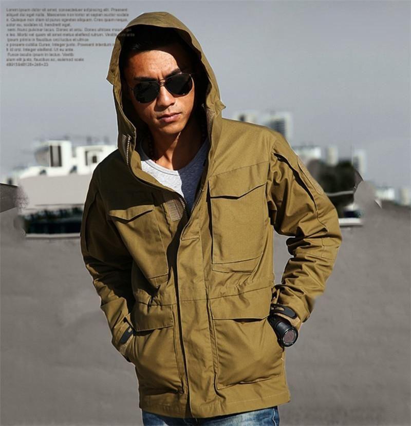 Men Winter Zip Up Coat Tactical Military Jacket Waterproof Outdoor Hooded Jacket