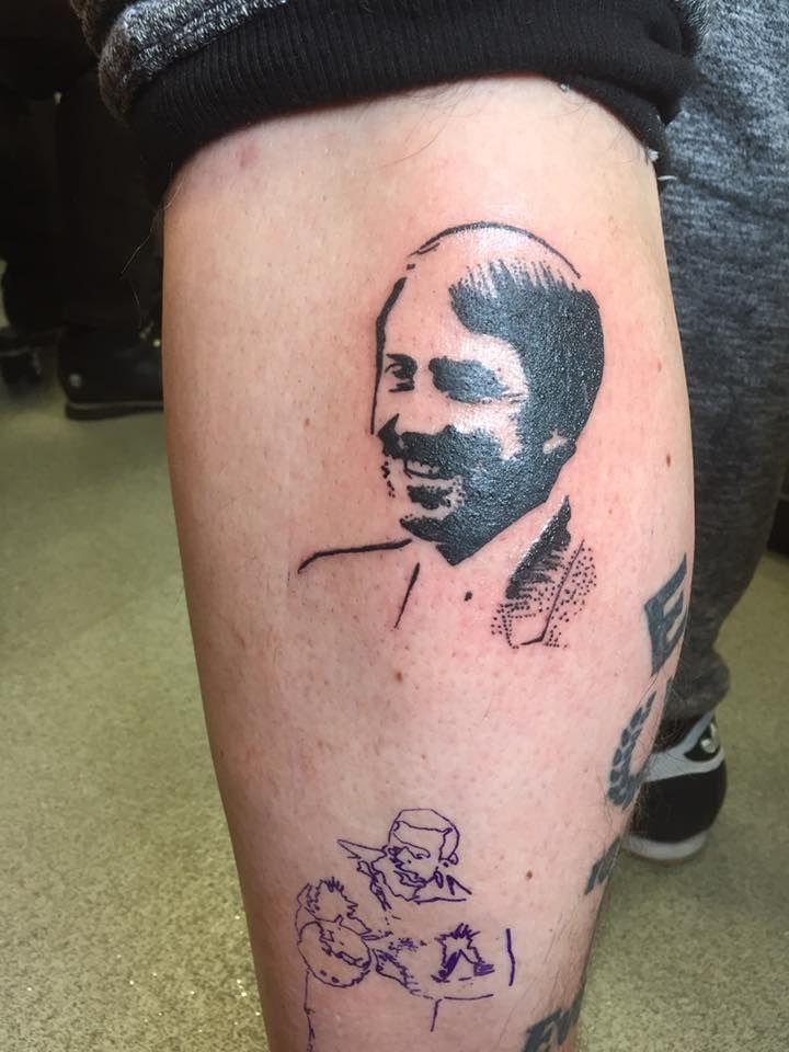 everton, football, tattoo, calf tattoo, efc, silhouette