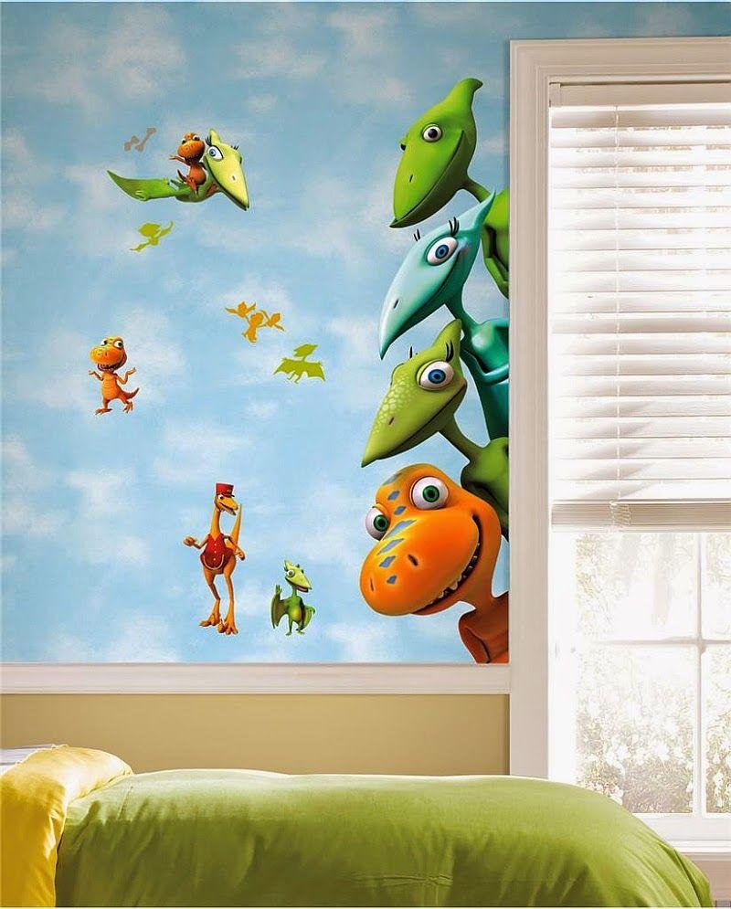 Dormitorio de ni os decorado con dinosaurios arte en las - Paredes para ninos ...