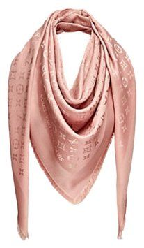 "Pink with gold monogram 55"" square Shawl Gorgeous and like new. ***The sewn on tag is missing. Fashionable cover up for any occasion. Very soft and cosy to wear. Can be worn in numerous options. **** The scarf is freshly dry cleaned. Ready to wear.Thanks for looking!"