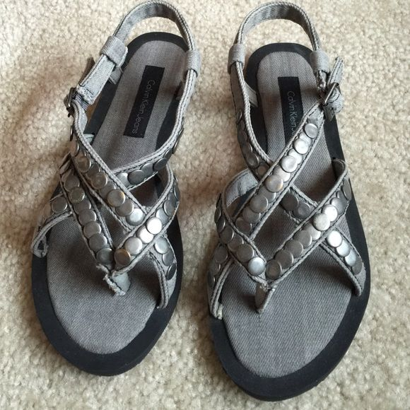 Calvin Klein jeans sandals Beautiful Never been worn denim grey sandals, very comfortable and cute Calvin Klein Shoes Sandals