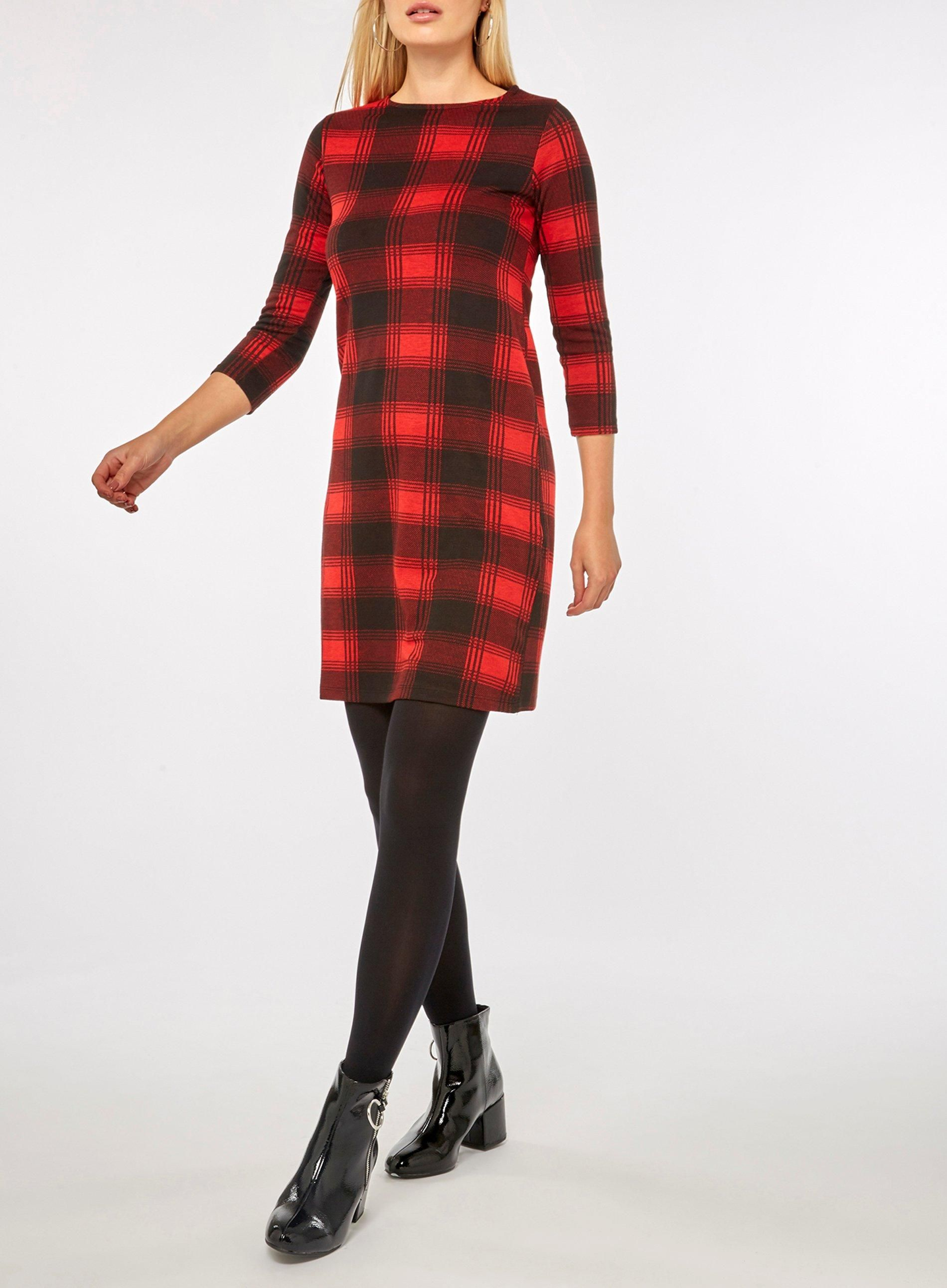 f21fd848e83 Red Checked Jersey Shift Dress - New In Clothing - New In - Dorothy Perkins